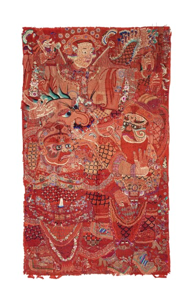 View 6. Thumbnail of Lot 74. Deux grandes tentures d'opéra brodées circa 1900 | 約1900年 刺繡戲曲人物圖掛幅兩件 | Two large Chinese Opera embroideries, ca. 1900..