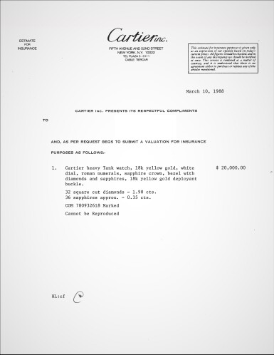 View 6. Thumbnail of Lot 305. A yellow gold, diamond and sapphire-set rectangular wristwatch, Circa 1985.