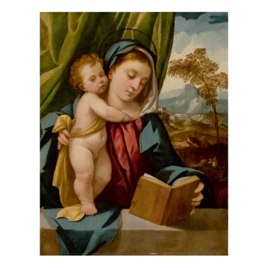 Sold Without Reserve | BONIFAZIO DE' PITATI, CALLED BONIFAZIO VERONESE | MADONNA READING A BOOK AND HOLDING THE STANDING CHRIST CHILD, WITH A LANDSCAPE BEYOND