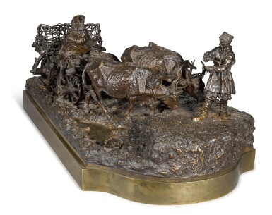 View 2. Thumbnail of Lot 287. Taking the Ducks to Market: A bronze figural group, cast by Woerffel, after the model by Leonid Posen (1849-1921), circa 1890.