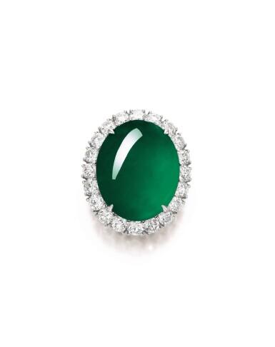 View 1. Thumbnail of Lot 1688. Imperial Green Jadeite and Diamond Ring / Pendant | 天然「帝王綠」翡翠 配 鑽石 戒指 / 吊墜.