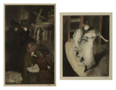 View 1. Thumbnail of Lot 127. Au Moulin Rouge; and Devant la lampe.