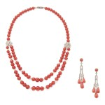 CORAL, SEED PEARL AND DIAMOND NECKLACE AND PAIR OF EARRINGS