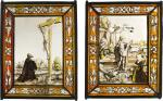 SOUTHERN GERMAN OR AUSTRIAN, CIRCA 1520 | PAIR OF PANELS WITH THE CRUCIFIXION AND THE RESURRECTION