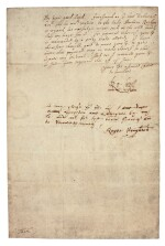 ROBERT CECIL, EARL OF SALISBURY | letter signed, to Lord Treasurer Buckhurst, 1603