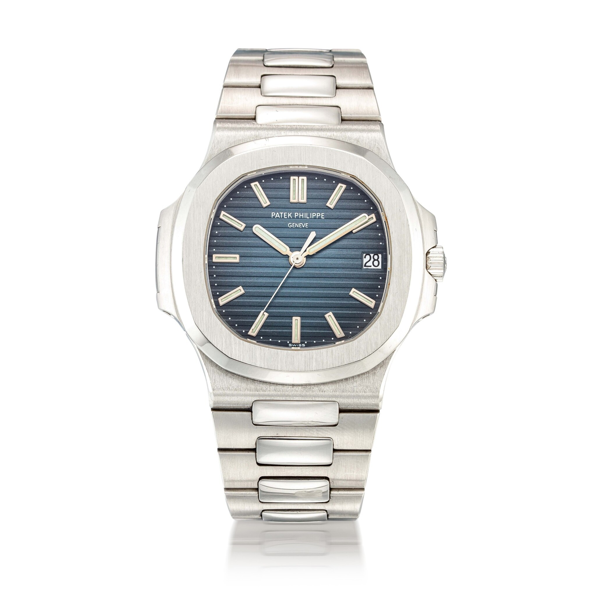 View 1 of Lot 8001. Patek Philippe | Nautilus, Reference 5711, A stainless steel bracelet watch with date, Circa 2008 | 百達翡麗 | Nautilus 型號 5711 精鋼鏈帶腕錶、備日期顯示,約2008年製.