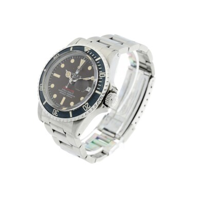 View 3. Thumbnail of Lot 126. REFERENCE 1680 SUBMARINER A STAINLESS STEEL AUTOMATIC WRISTWATCH WITH DATE, BRACELET AND TROPICAL DIAL, CIRCA 1970.