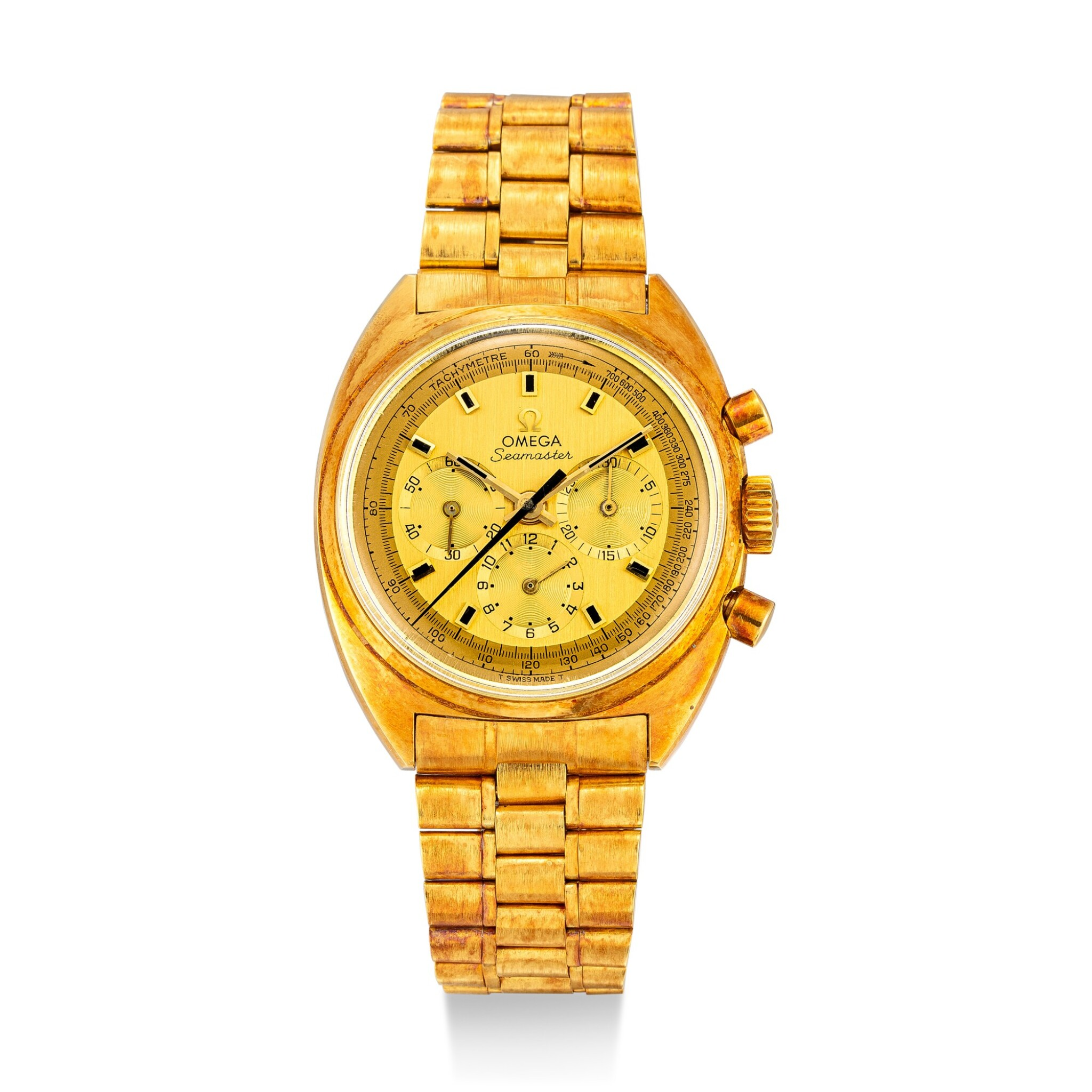 View full screen - View 1 of Lot 110. OMEGA | SEAMASTER, REFERENCE 145.006 A YELLOW GOLD CHRONOGRAPH WRISTWATCH WITH BRACELET, CIRCA 1970.