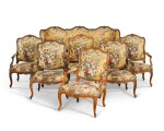 A Louis XV suite of carved beechwood seat furniture by Michel Cresson, mid-18th century