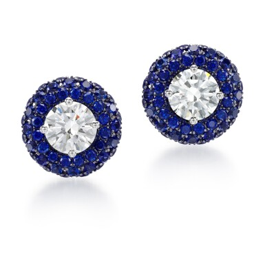 View 1. Thumbnail of Lot 306. GRAFF   PAIR OF SAPPHIRE AND DIAMOND EARRINGS.