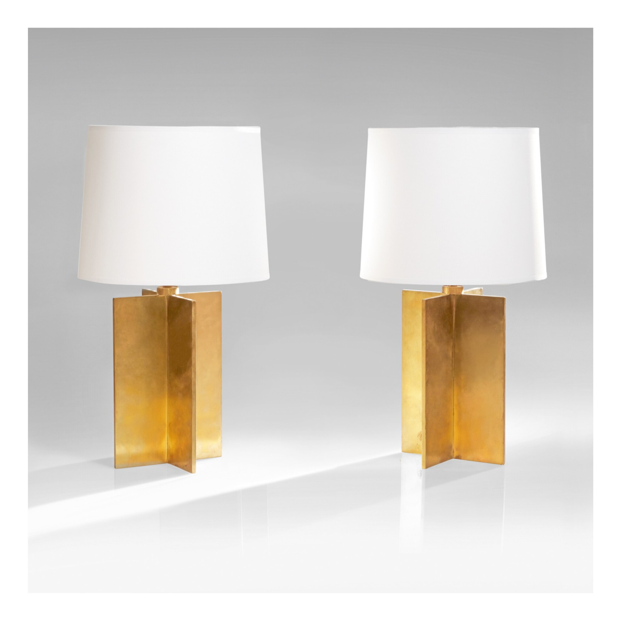 """View 1 of Lot 34. Pair of """"Croisillon"""" Table Lamps."""