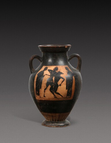 View 1. Thumbnail of Lot 58. An Attic Black-figured Amphora, attributed to the Princeton Group, circa 540-530 B.C..
