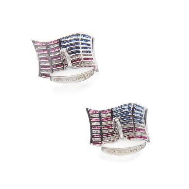 View 2. Thumbnail of Lot 472. Asprey | Pair of Diamond and Gem-Set Cufflinks.