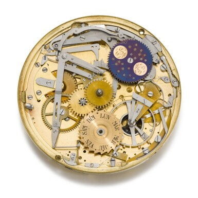 View 4. Thumbnail of Lot 28. BREGUET  [ 寶璣]    AN EXCEPTIONAL AND VERY RARE GOLD SELF-WINDING QUARTER REPEATING WATCH WITH MOON PHASES, DAY OF THE WEEK AND POWER RESERVE  NO. 60, 'PÉRPETUELLE' SOLD TO MONSIEUR JOHNSTON ON 5 JANUARY 1796 FOR 3,120 FRANCS  [ 極罕有黃金自動上鏈二問懷錶備月相、星期及動力儲存顯示,編號60,1796年1月5日以3,120法郎售出].