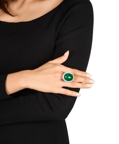 View 3. Thumbnail of Lot 1688. Imperial Green Jadeite and Diamond Ring / Pendant | 天然「帝王綠」翡翠 配 鑽石 戒指 / 吊墜.