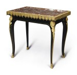 A FRENCH RÉGENCE STYLE GILT-BRONZE-MOUNTED AND BRASS INLAID EBONIZED CENTER TABLE, 19TH CENTURY