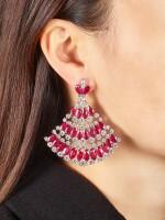 Pair of Ruby and Diamond Earrings | 格拉夫| 紅寶石 配 鑽石 耳墜一對 (紅寶石及鑽石共重約49.20及23.30克拉)
