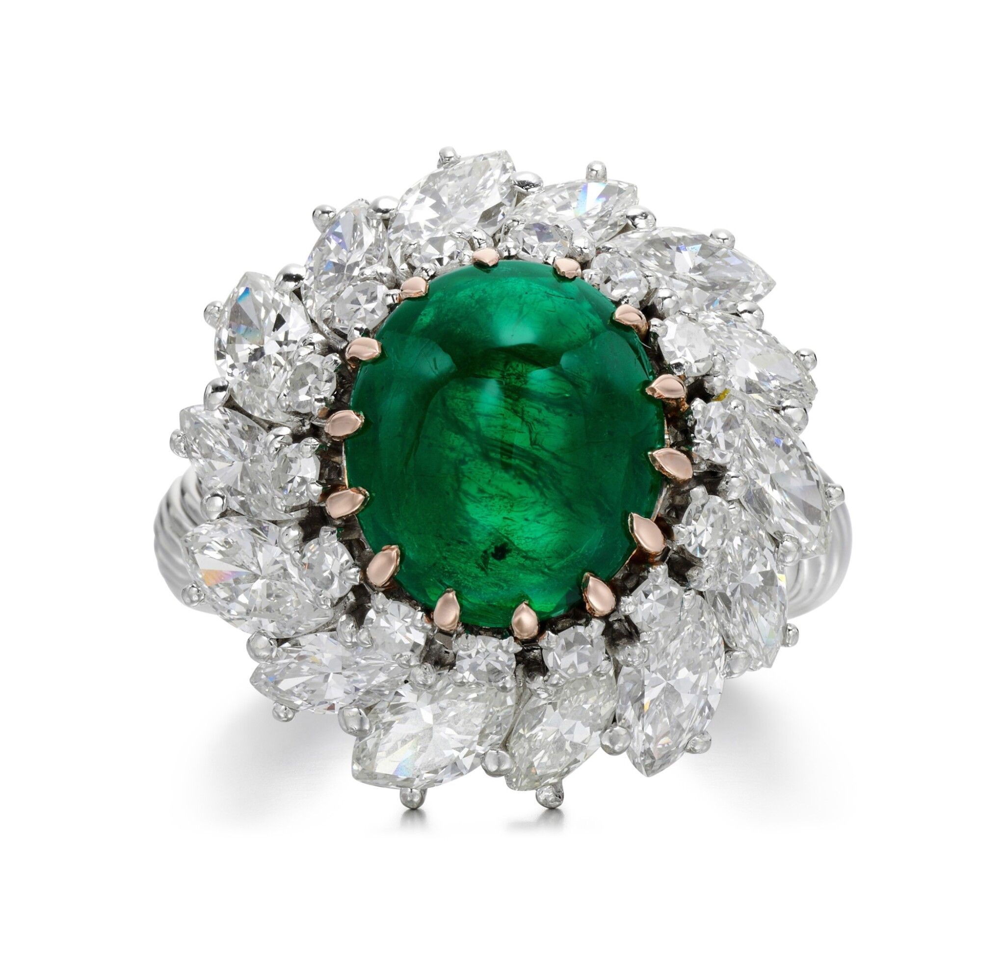 View full screen - View 1 of Lot 83. EMERALD AND DIAMOND RING.