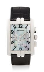 HARRY WINSTON   AVENUE CHRONO, REFERENCE 330/MCA,  A WHITE GOLD CHRONOGRAPH WRISTWATCH WITH MOTHER-OF-PEARL DIAL, CIRCA 2010