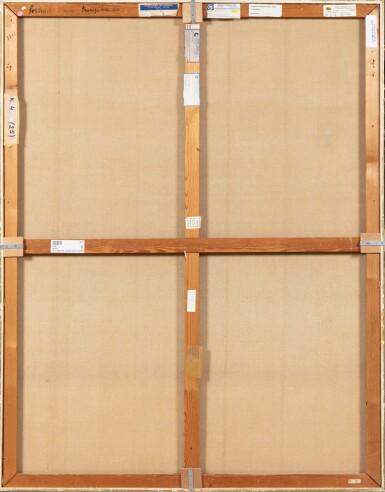 """View 3. Thumbnail of Lot 28. JEAN COCTEAU. Portrait d'une tragédienne. Huile sur toile, signée """"J"""" et datée 51 en bas à gauche. 146 x 114 cm."""