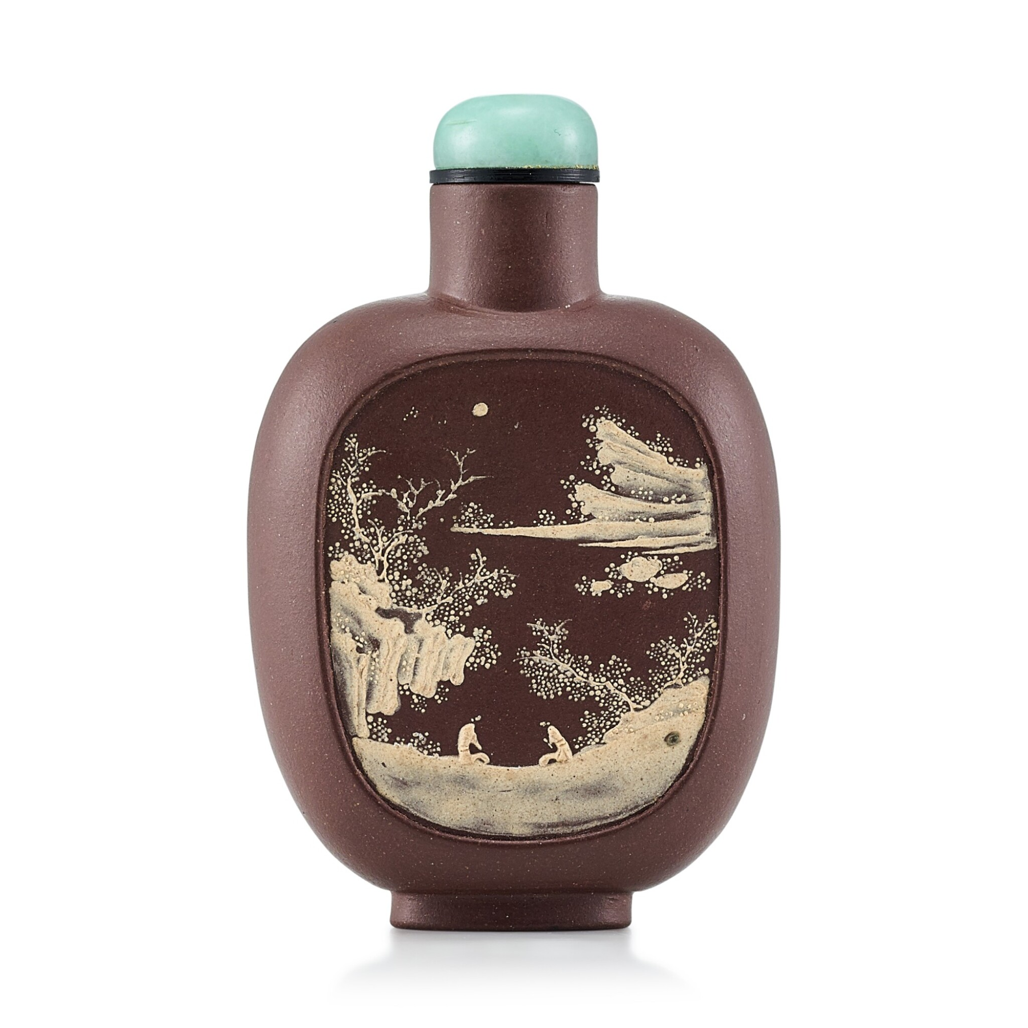 View full screen - View 1 of Lot 3059. An Yixing Slip-Decorated 'Landscape' Snuff Bottle Qing Dynasty, 19th Century | 清十九世紀 宜興紫砂堆料加彩山水人物圖鼻煙壺.
