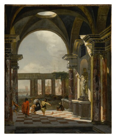View 1. Thumbnail of Lot 637. Architectural interior with foreign shippers, ruins and a shipyard beyond .