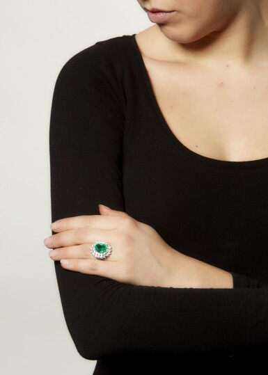 View 4. Thumbnail of Lot 4. EMERALD AND DIAMOND RING.
