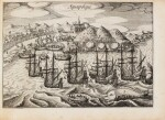 SPILBERGEN. Speculum orientalis occidentalisque Indiae navigationum. Leyde, 1619. In-8 oblong. Vélin de l'ep.