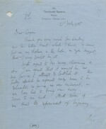 """VIRGINIA WOOLF   AUTOGRAPH LETTER SIGNED (""""VIRGINIA WOOLF"""") TO LOGAN PEARSALL SMITH, REGARDING A SUBMISSION FOR PUBLICATION"""