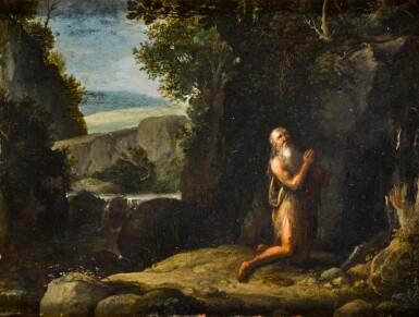 FOLLOWER OF JAN BREUGHEL THE YOUNGER | Saint Jerome praying in a landscape