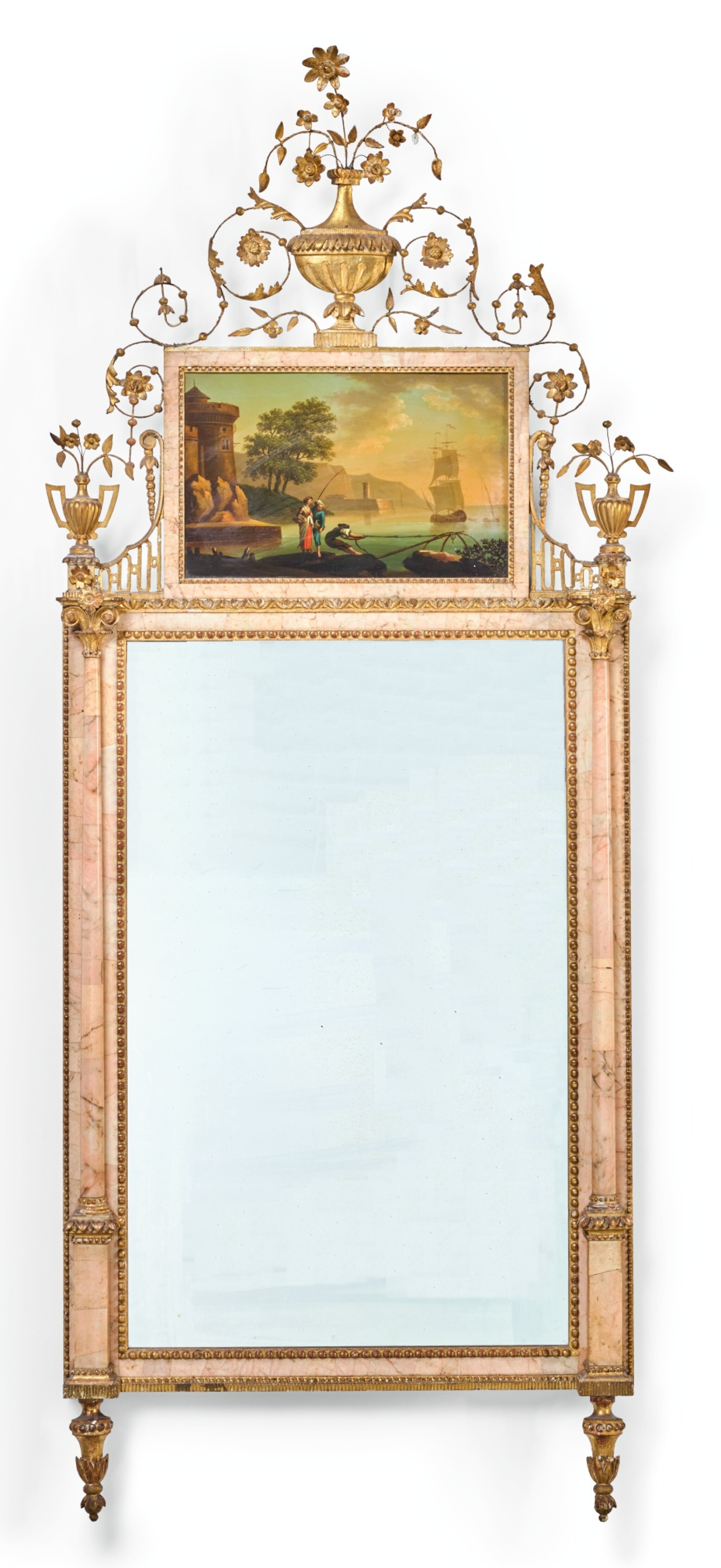View full screen - View 1 of Lot 81. A CARLOS IV NEOCLASSICAL GILT-METAL AND PINK MARBLE VENEERED MIRROR, BILBAO CIRCA 1780.