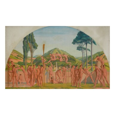 View 1. Thumbnail of Lot 47. JAMES STROUDLEY | OLYMPIC GAMES IN A DEMI-LUNE.