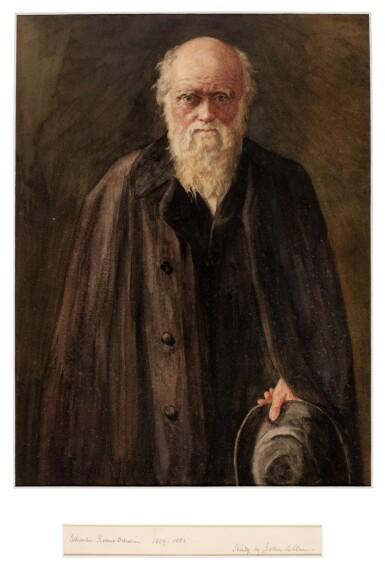 View 1. Thumbnail of Lot 45. DARWIN   A watercolour portrait of Darwin by John Collier.