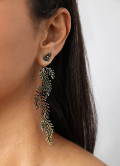 View 4. Thumbnail of Lot 41. Treated coloured diamond earring, 'Reverie on the Vine'.