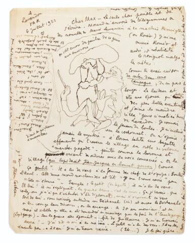 View 1. Thumbnail of Lot 246. 2 lettres autographes signées à Max Jacob, l'une illustrée. 1921-1922..