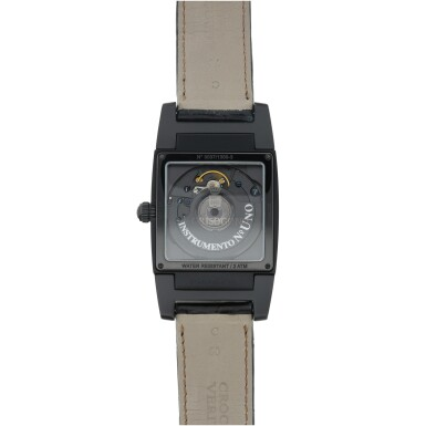 View 5. Thumbnail of Lot 223. REFERENCE UNO/DF A BLACK COATED STAINLESS STEEL DUAL TIME RECTANGULAR WRISTWATCH, CIRCA 2010.