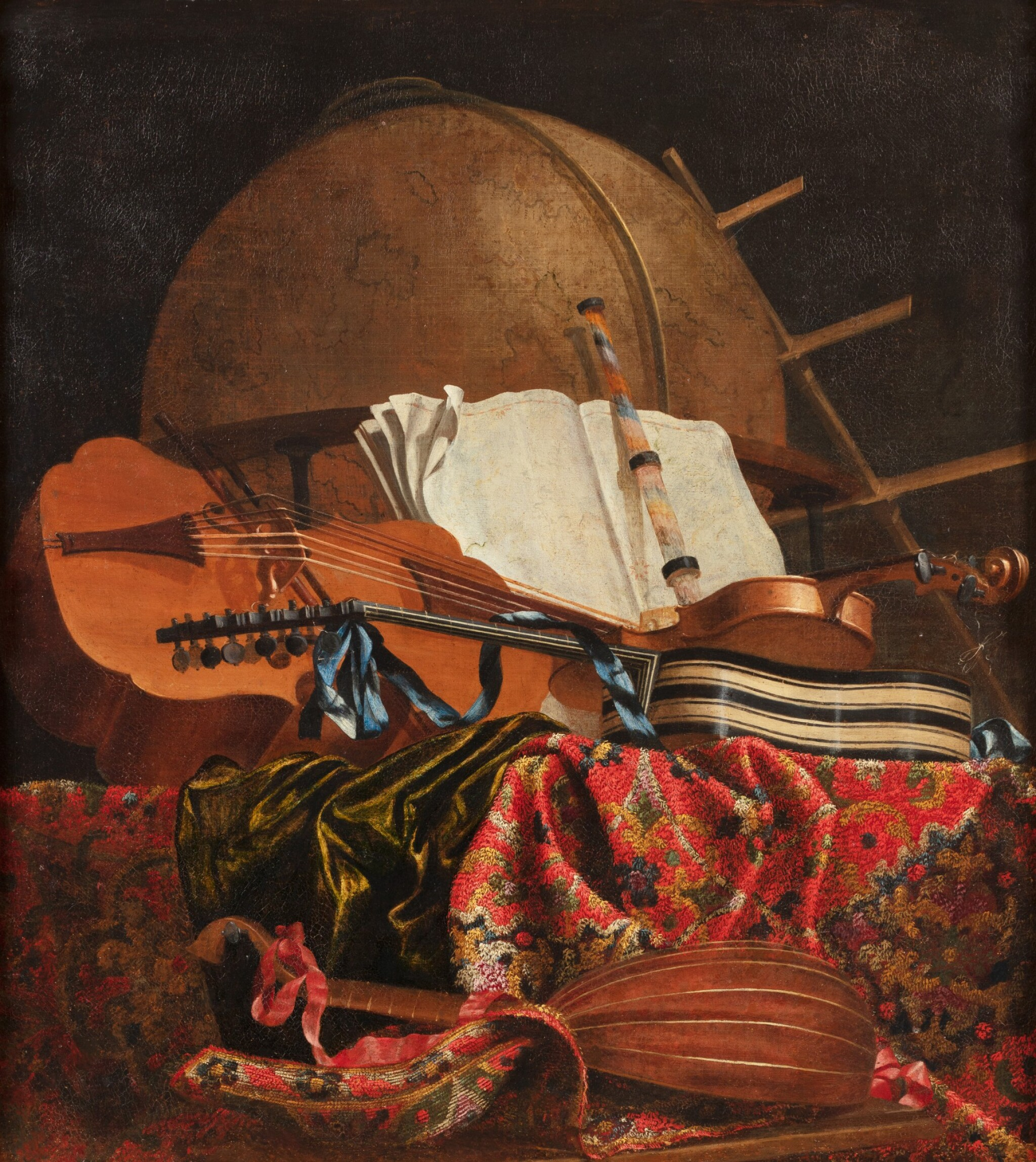 View full screen - View 1 of Lot 155. Still life with a globe and musical instruments.