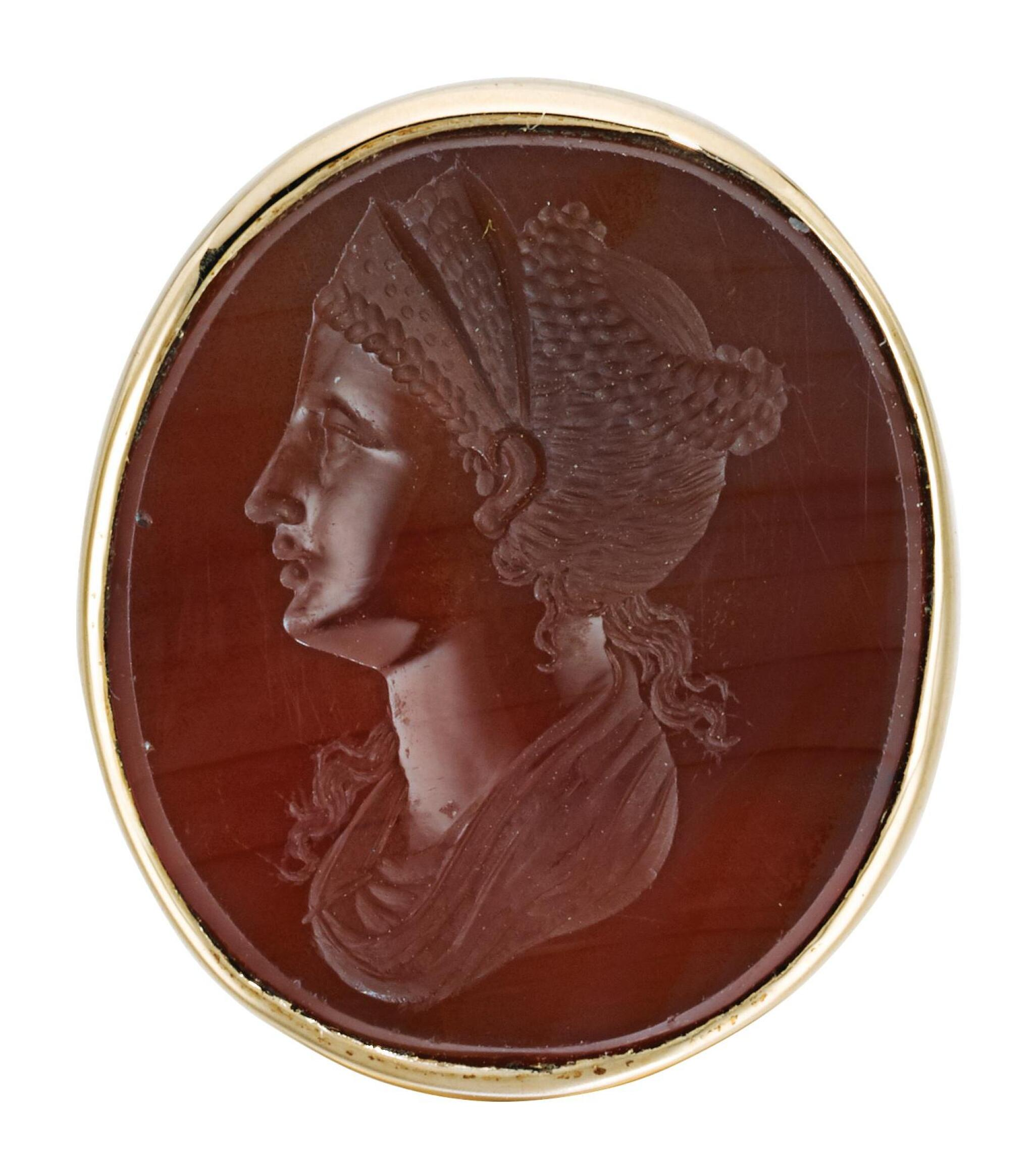 View 1 of Lot 91. ITALIAN, PROBABLY EARLY 19TH CENTURY | INTAGLIO WITH A LADY WEARING A TIARA, POSSIBLY FAUSTINA THE ELDER.