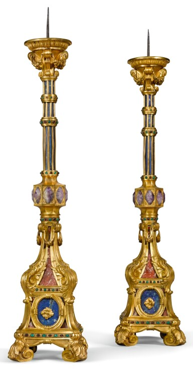 A PAIR OF ITALIAN GILT-BRONZE MOUNTED, GLASS AND HARDSTONE CANDLESTICKS, ROME MID-19TH CENTURY