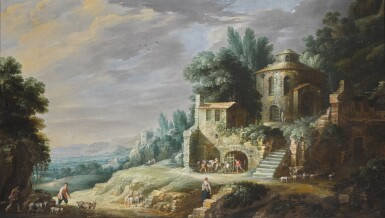 GILLIS PEETERS THE ELDER | SHEPHERDS AND THEIR FLOCK BY BUILDINGS, IN A SOUTHERN LANDSCAPE