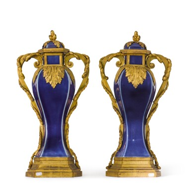 View 4. Thumbnail of Lot 126. A pair of Louis XVI gilt-bronze mounted Chinese blue porcelain baluster vases, the mounts circa 1780, the porcelain Qing dynasty, Qianlong (1736-1795).