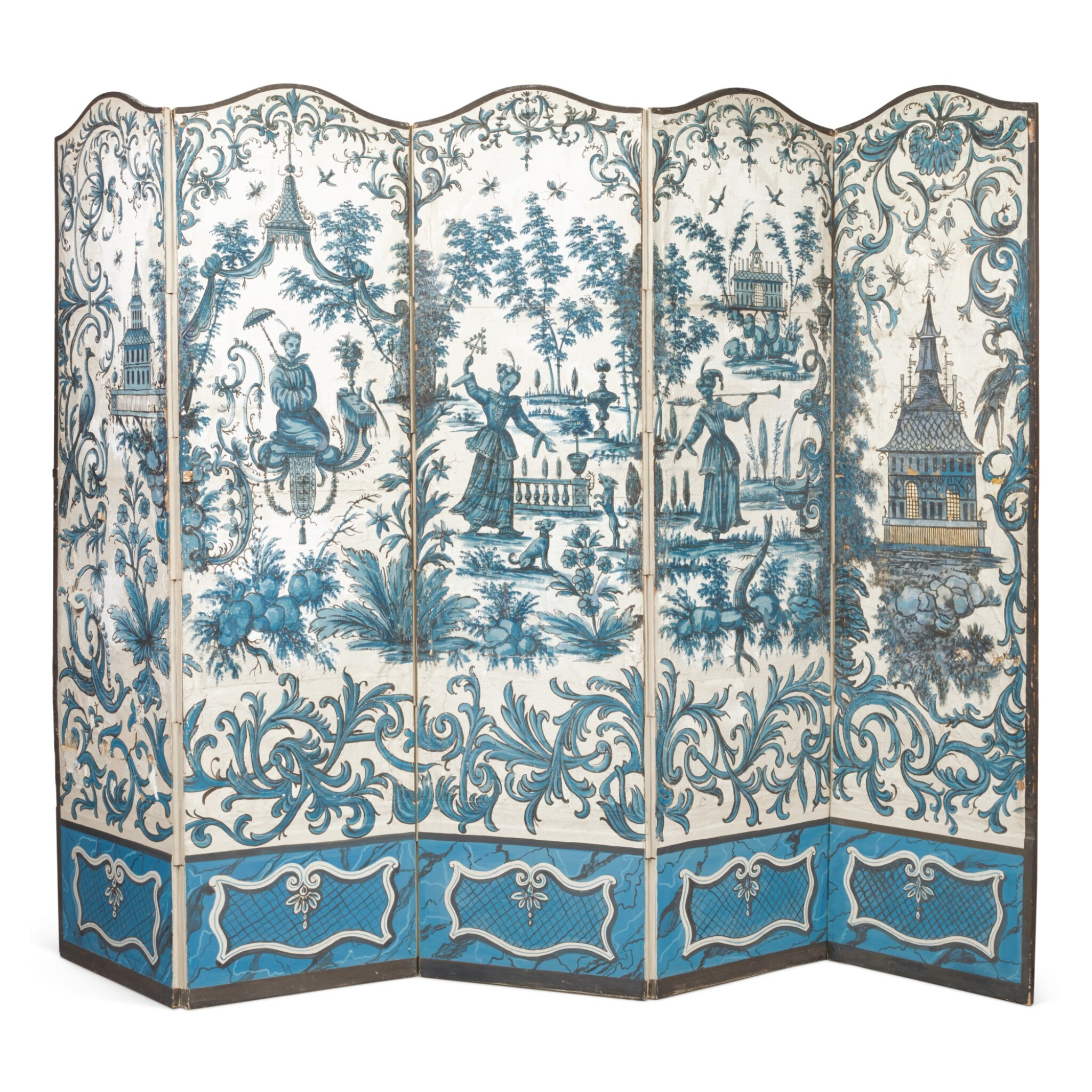 View full screen - View 1 of Lot 42. A LOUIS XV FIVE-FOLD BLUE AND WHITE CHINOISERIE WALLPAPER SCREEN, THE WALLPAPER 18TH CENTURY.