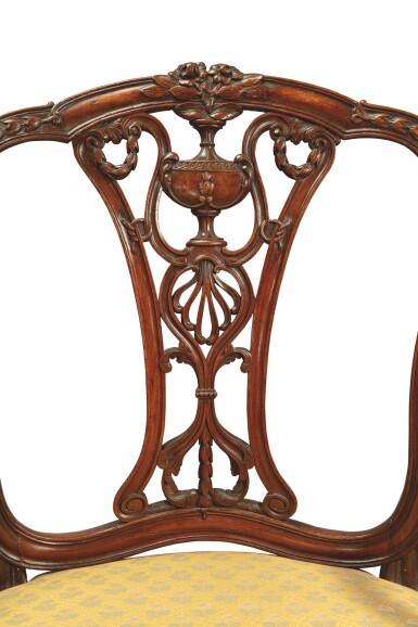 View 2. Thumbnail of Lot 602. A GEORGE III MAHOGANY OPEN ARMCHAIR ATTRIBUTED TO WILLIAM LINNELL, CIRCA 1775.