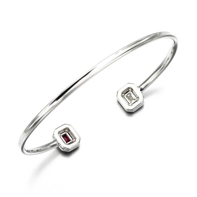 View 4. Thumbnail of Lot 52. Ruby, diamond and enamel bangle.