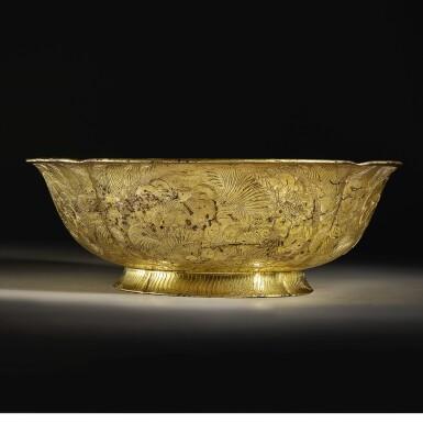 View 4. Thumbnail of Lot 202. A superb and important parcel-gilt silver 'lotus and pomegranate' bowl, Tang dynasty   唐 銀局部鎏金石榴蓮花紋花式大盌.