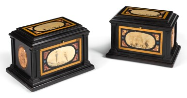 A PAIR OF ITALIAN PIETRA PAESINA MOUNTED EBONY CASKETS THE PANELS 17TH CENTURY, THE CASKET 19TH CENTURY