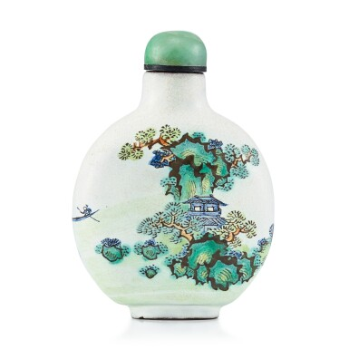 View 2. Thumbnail of Lot 3019. An Enamelled Yixing 'Landscape' Snuff Bottle Qing Dynasty, 19th Century   清十九世紀 宜興紫砂胎畫彩山水圖鼻煙壺.