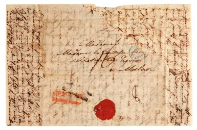 """View 2. Thumbnail of Lot 38. V. Bellini. Five autograph letters about his love affairs, """"I puritani"""" and Shakespeare, mainly unpublished, 1834-1835."""