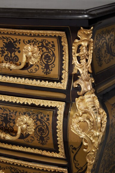 View 6. Thumbnail of Lot 12. A Régence Gilt Bronze and Brass-Mounted Ebony Contre-Partie Boulle Marquetry Commode, attributed to François Lieutaud, Circa 1730.