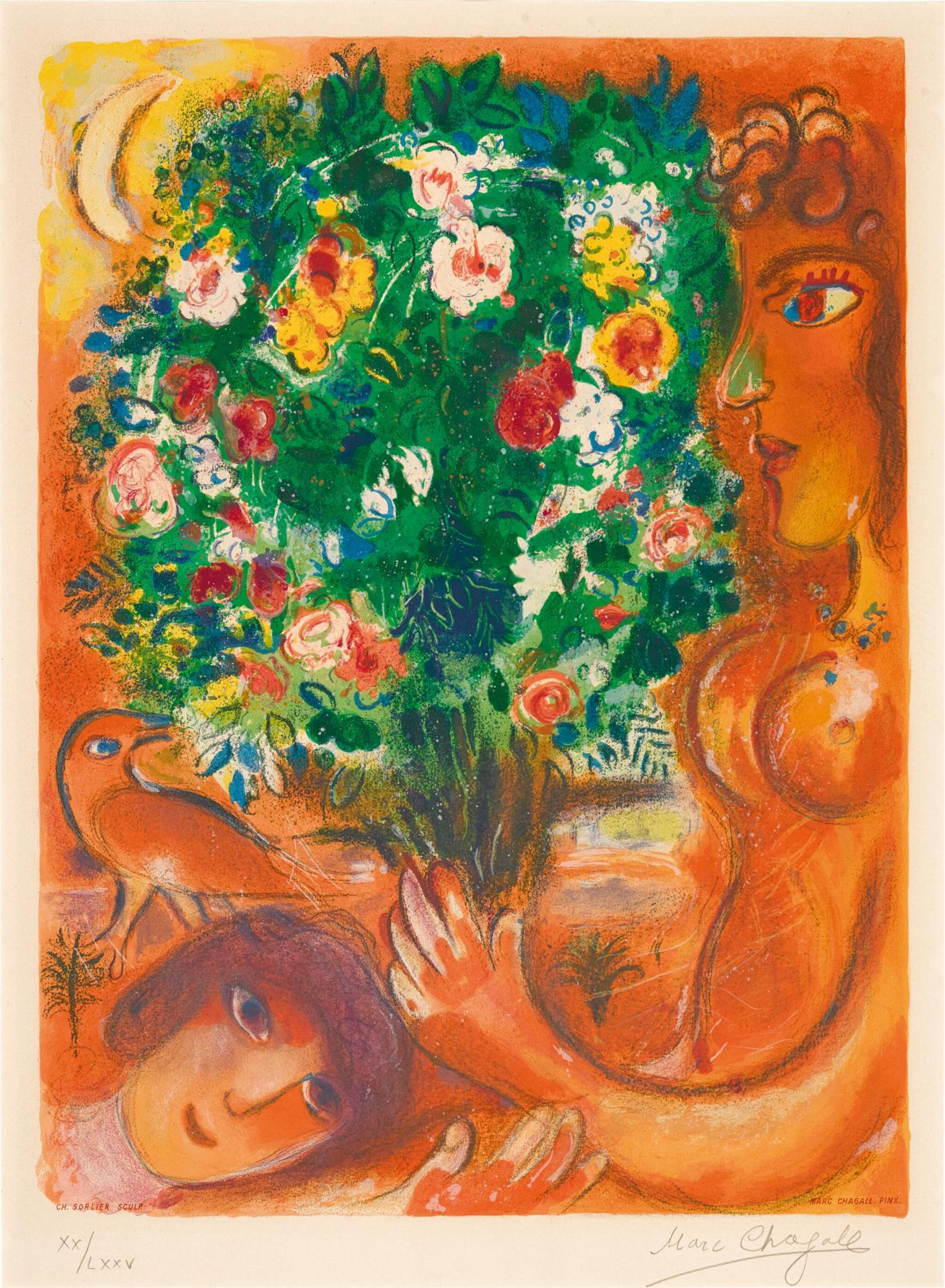 View full screen - View 1 of Lot 18. AFTER MARC CHAGALL | FEMME AU BOUQUET (M. CS. 37).